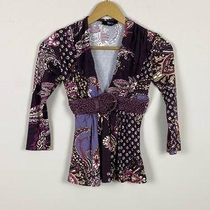 Sky Purple Paisley 3/4 Length Sleeve Belted Blouse
